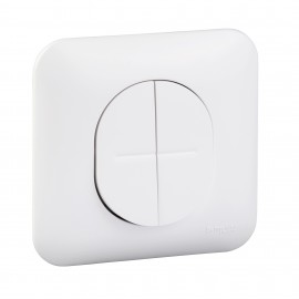 Interrupteur double va et vient 10 AX avec plaque - Ovalis - Schneider - S260214