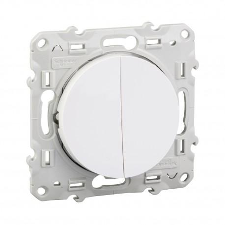 Interrupteur va et vient + poussoir - Odace - Schneider - S520285
